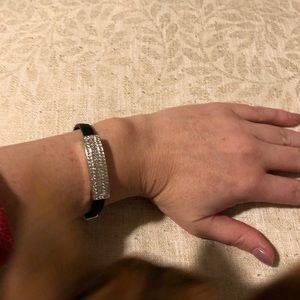 Black bracelet with Swarovski crystal detail